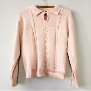 Vintage 80s Collared Cable Knit Sweater Pink M